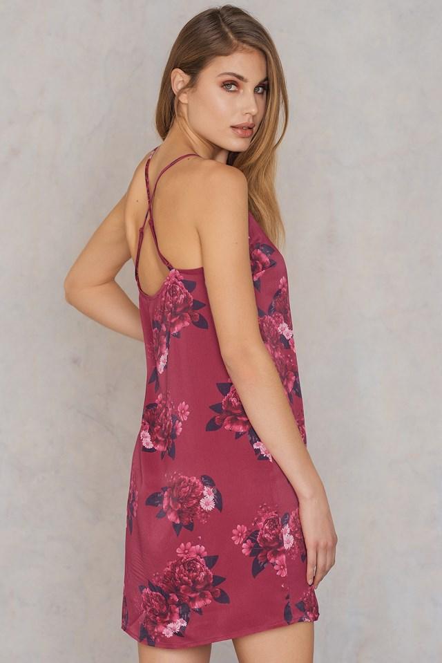 Cross Back Satin Dress Flower