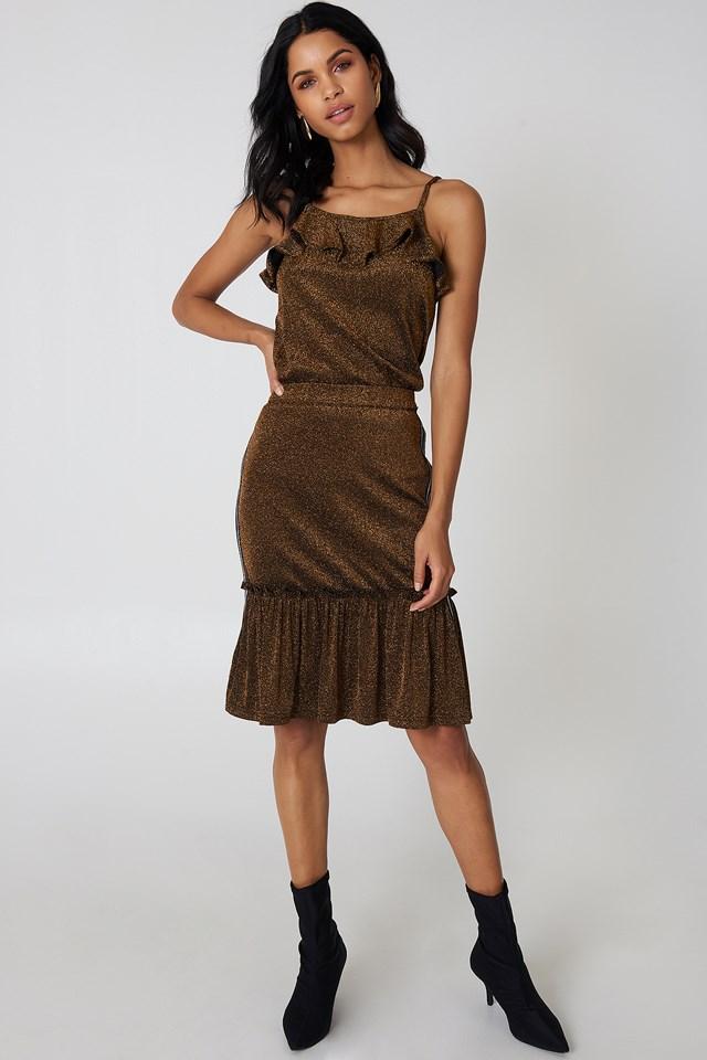 Glitter Frill Skirt Gold