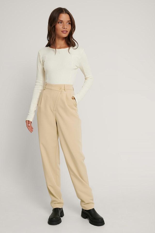 Crossed Waist Suit Pants Light Beige