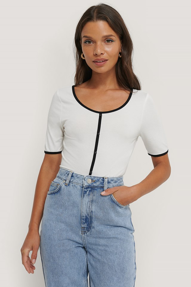 Buttoned Short Sleeve Top White