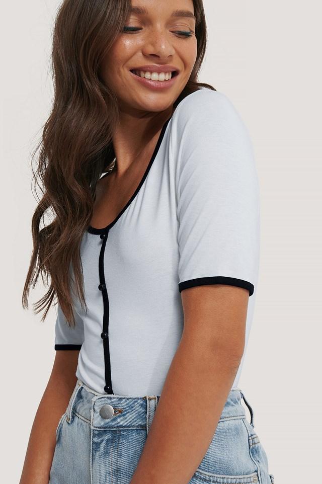 Buttoned Short Sleeve Top Sky Blue
