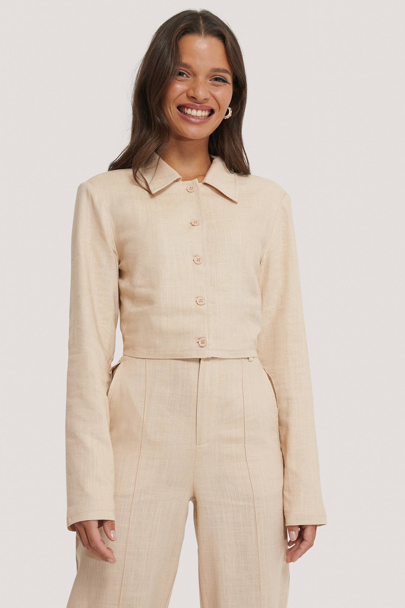 Light Beige Short Linen Blend Jacket