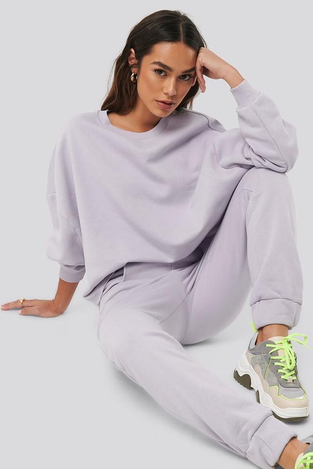 Raw Hem Cropped Sweatshirt Purple