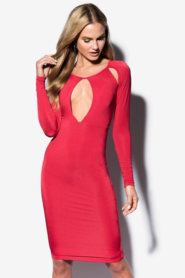 Dark Red Cut Open Dress