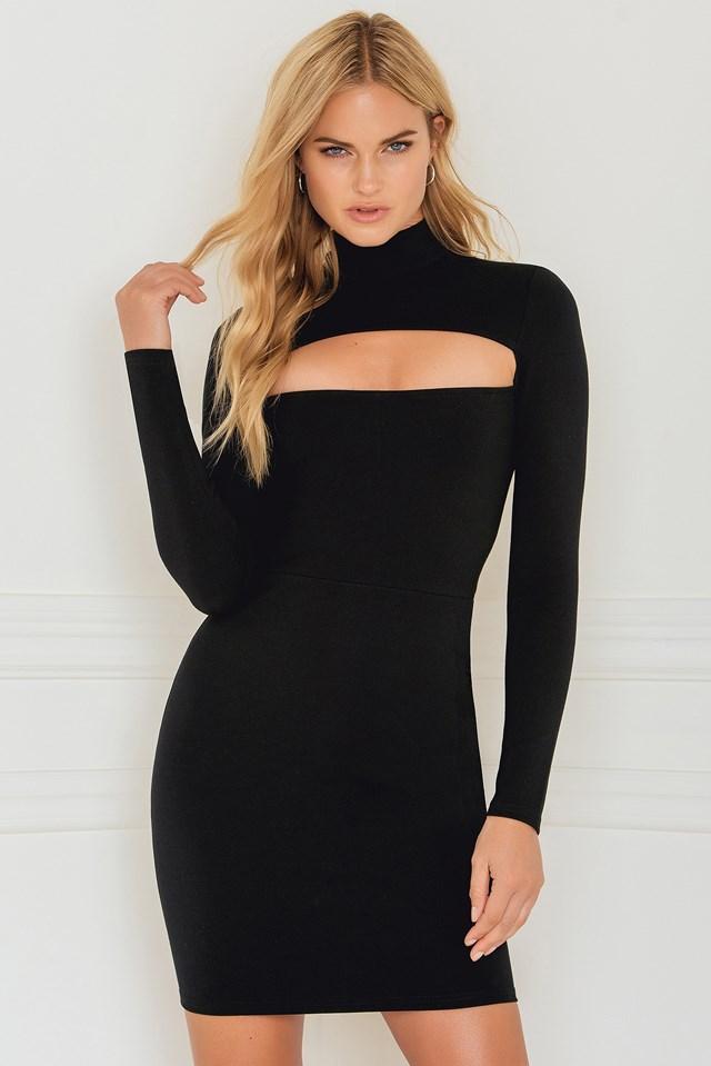 Cut Out Front Dress Black