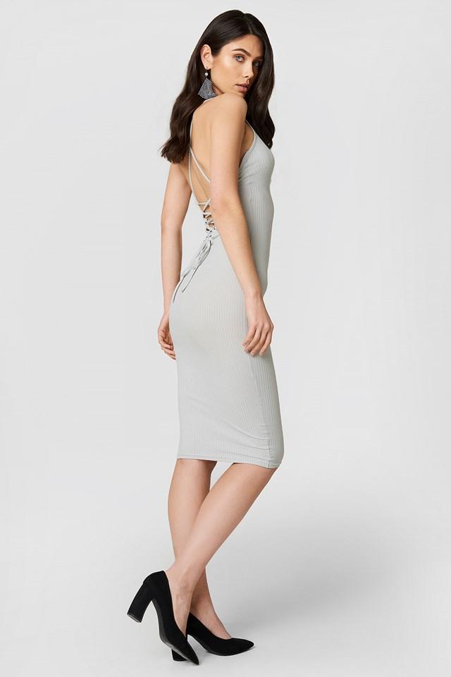 Lace-Up Dress Light Grey