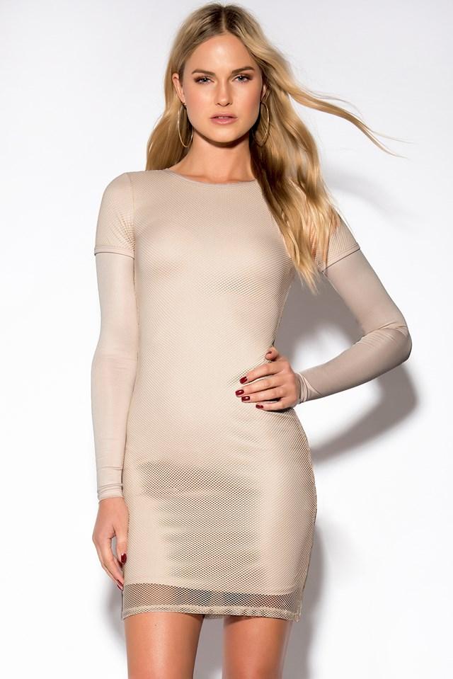 Mesh Long Sleeve Dress Nude