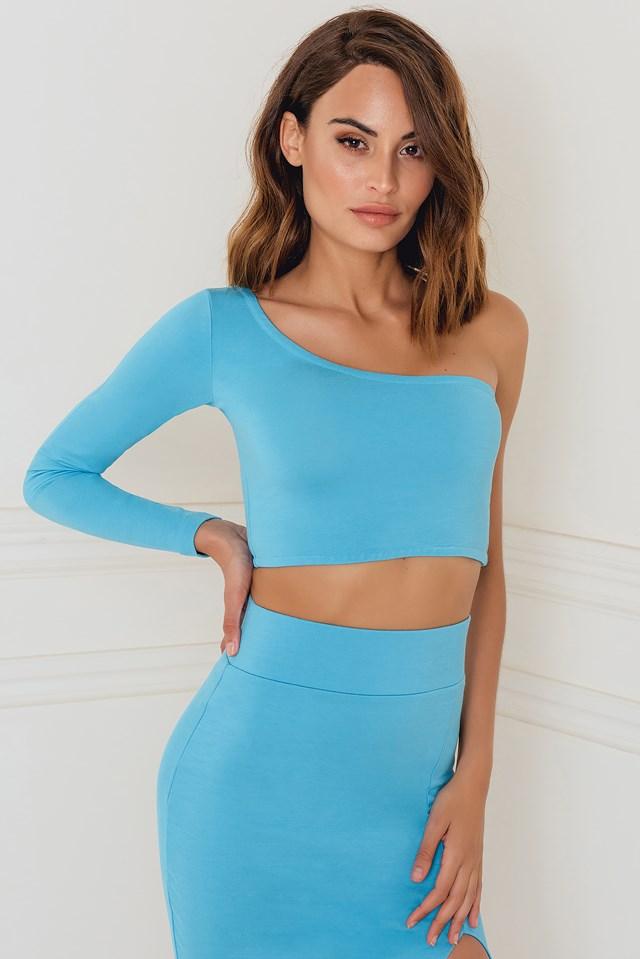 One Shoulder Sleeve Top Blue
