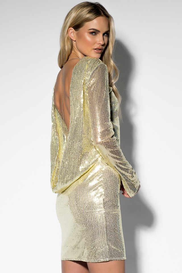 Sequin Open Back L/S Dress Gold