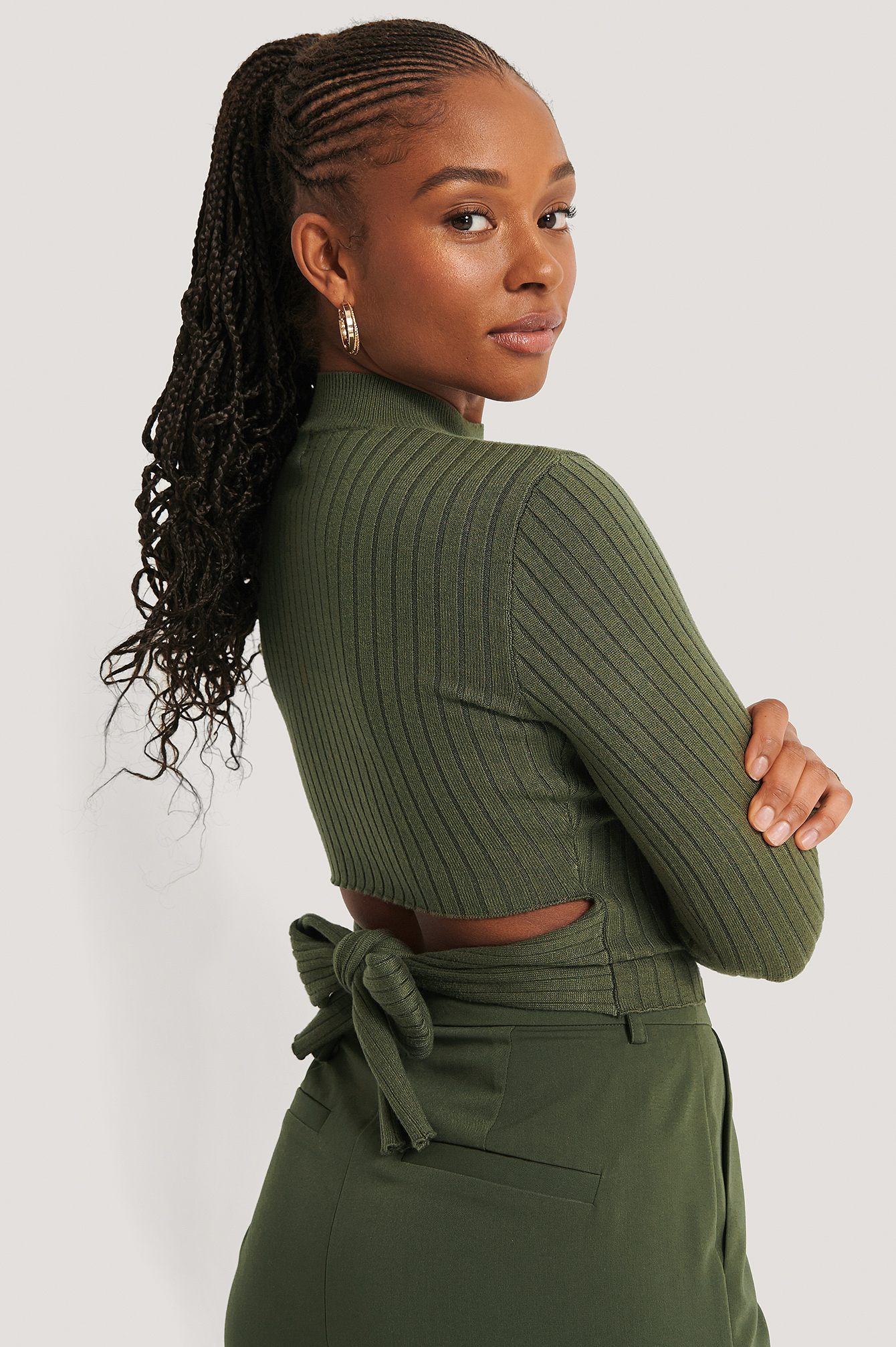 Dark Green Tied Back Knitted Top