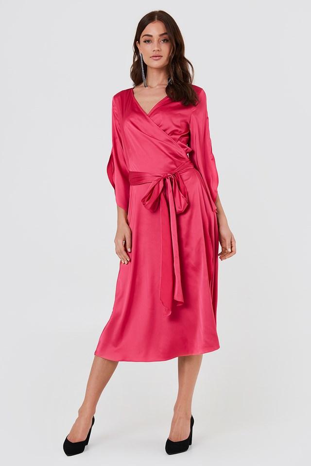 Fab Wrap Long Dress Hot Pink
