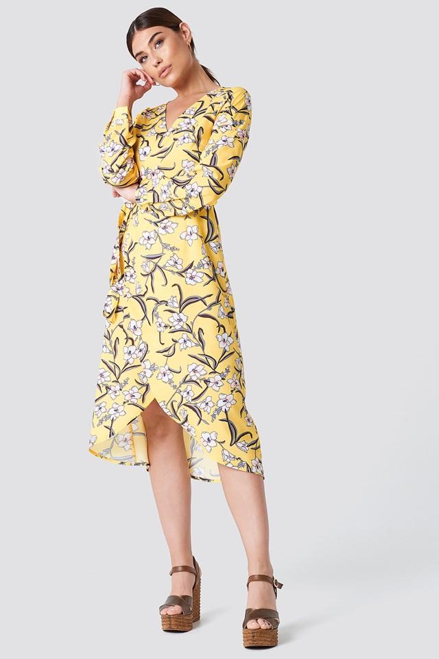 Flower LS Wrap Dress Yellow