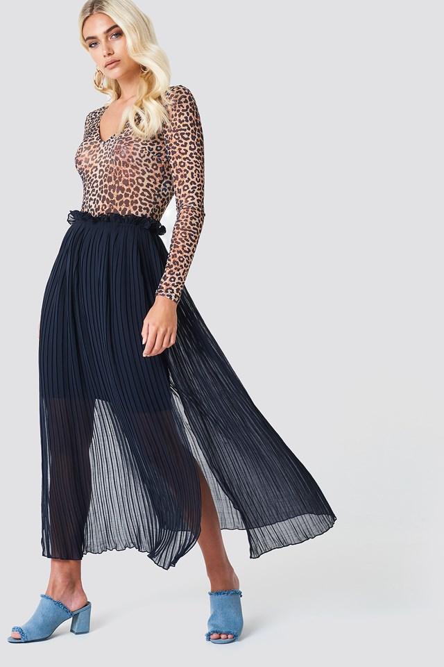 Pleated Frill Skirt DK Navy