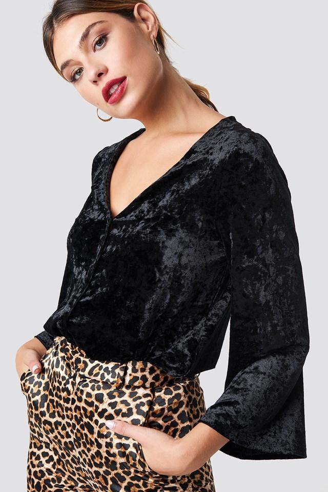 Velvet Button Bodysuit Black