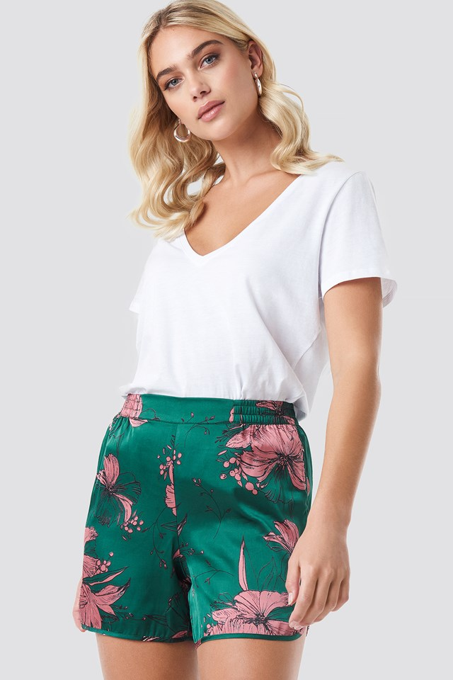 Green Comb Flower Smock Shorts