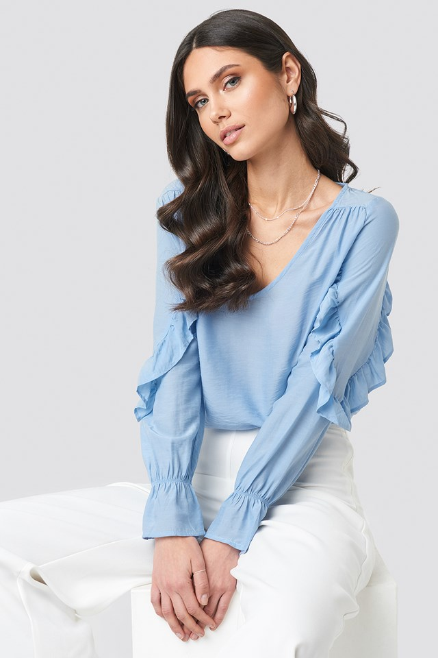 Mid Blue Frill Sleeve Blouse