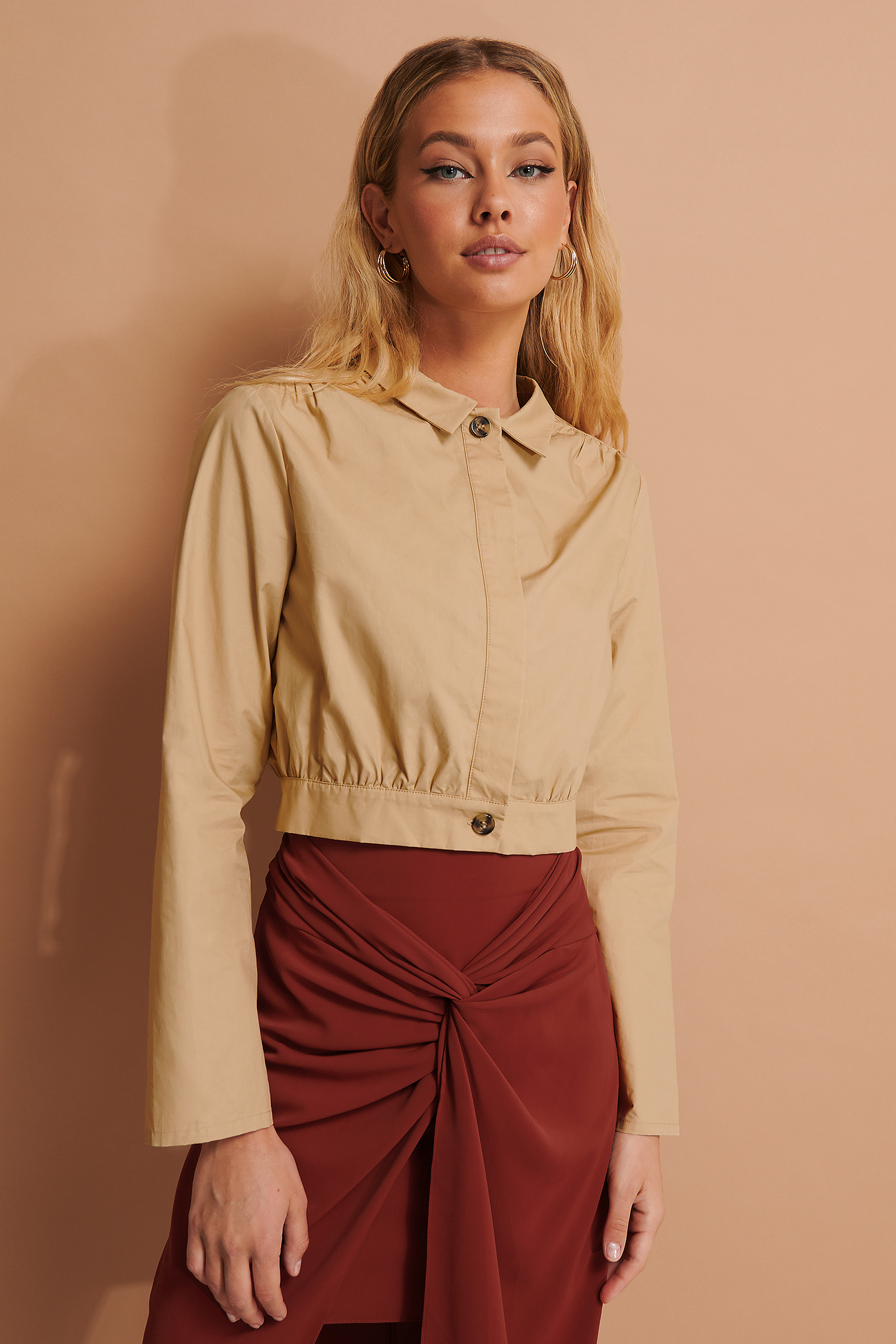 Beige Shoulder Detailed Jacket