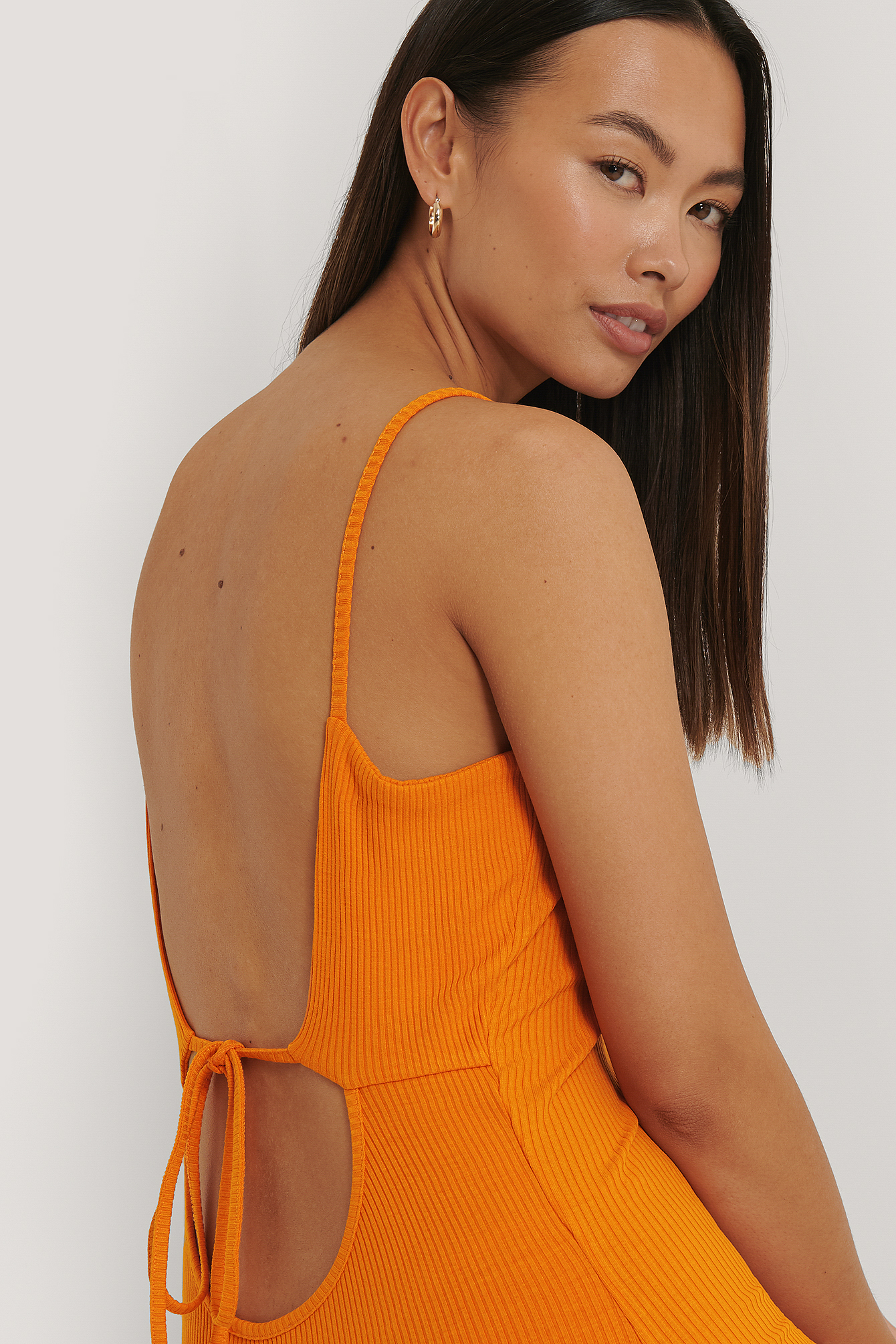 Orange Ribbed Open Back Jersey Dress