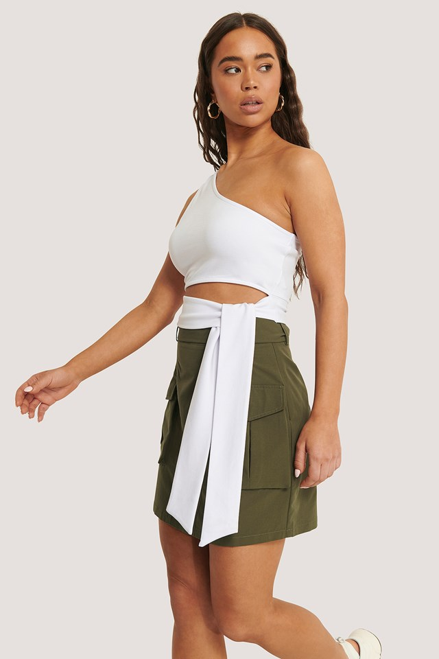 Pocket Belted Skirt Dark Green