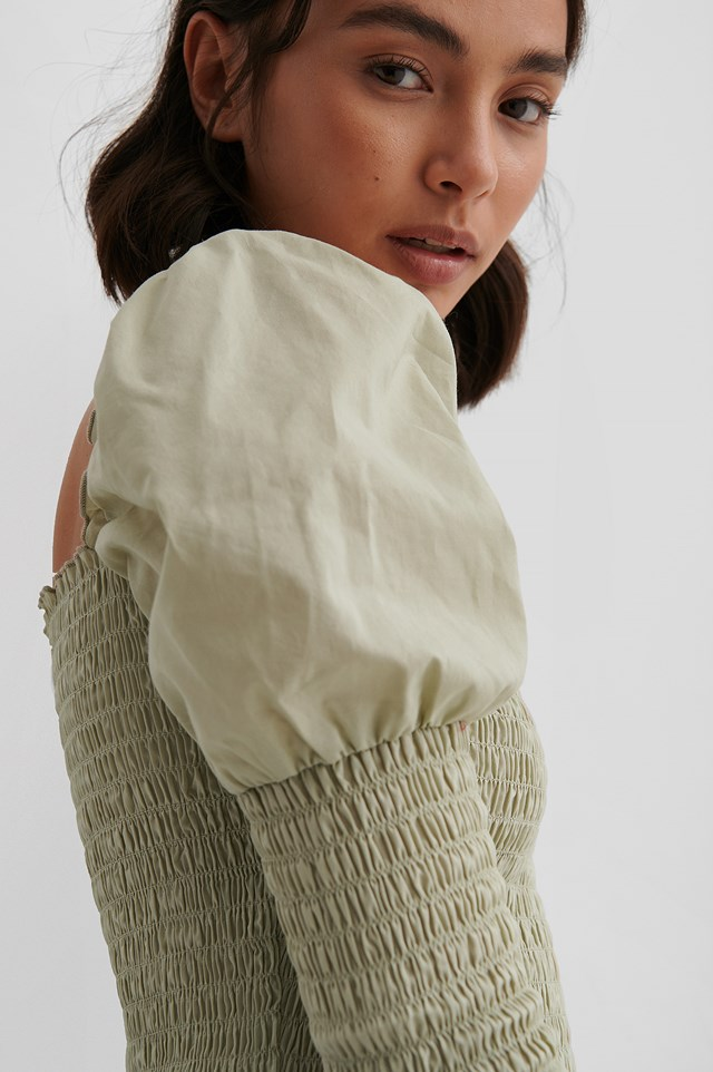 Smocked Puff Sleeve Top Dusty Light Green
