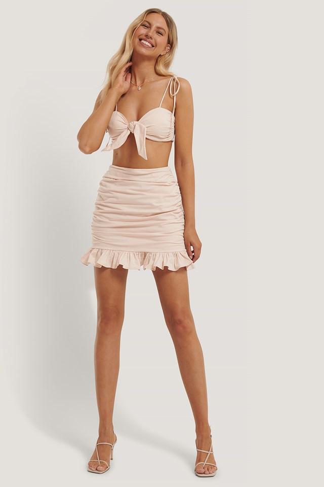 Maria Kragmann Gathered Detail Mini Skirt Light Pink