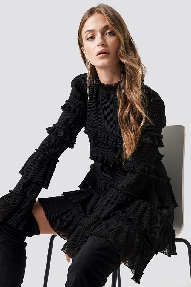 High Neck Layered Mini Dress Black