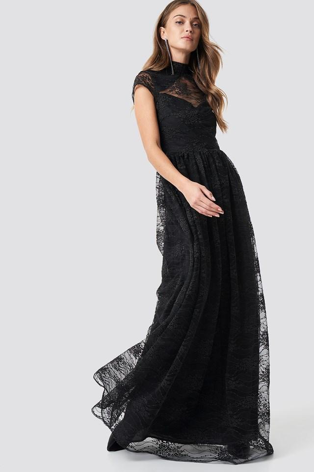 Lace High Neck Maxi Dress Black