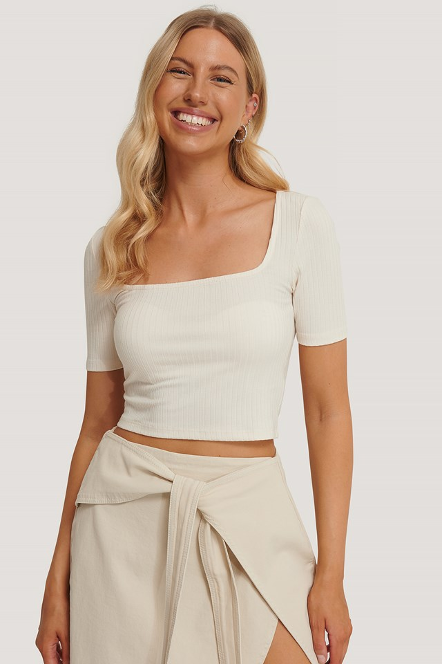 Ribbed Square Neck Top Eggshell