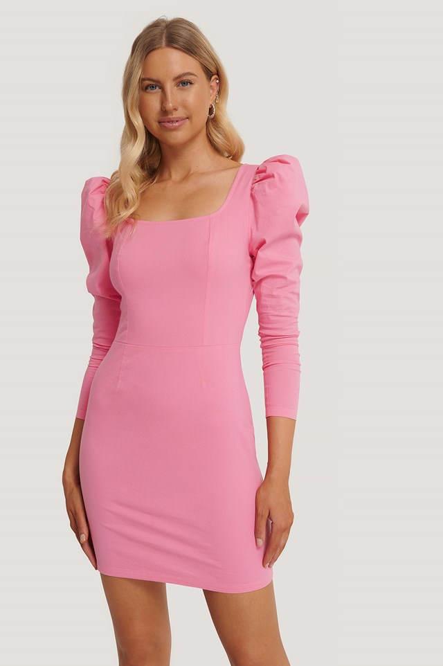 Square Neck Puff Sleeve Dress Hot Pink
