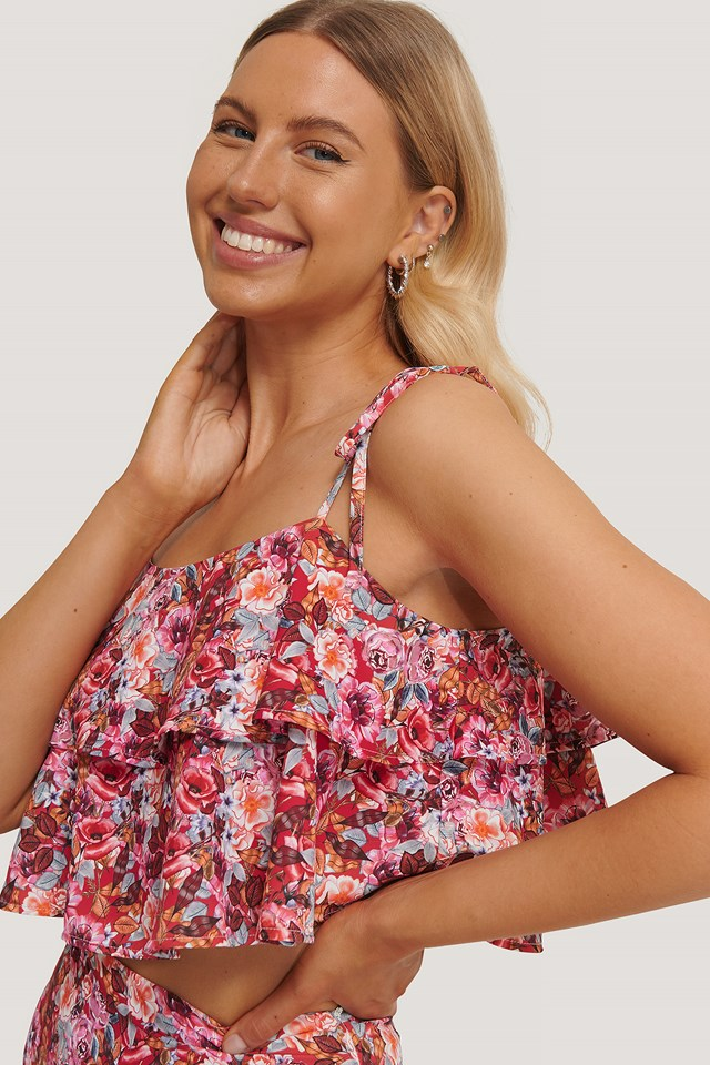 Thin Straps Layered Top Flower Print