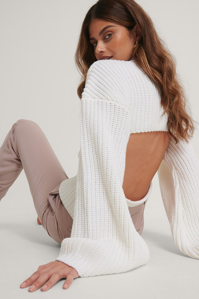 Cut Out Back Knitted Sweater White