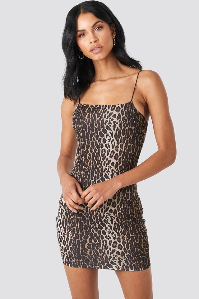 Sukienka Z Cienkimi Ramiączkami Leopard