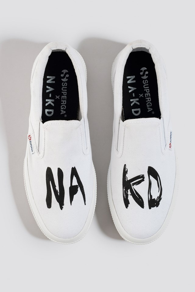Branded Slip-On Sneaker White/Black