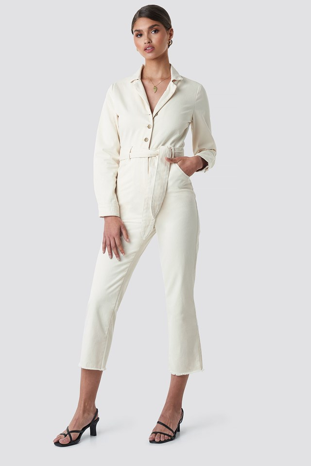 Front Tie Denim Jumpsuit Off White