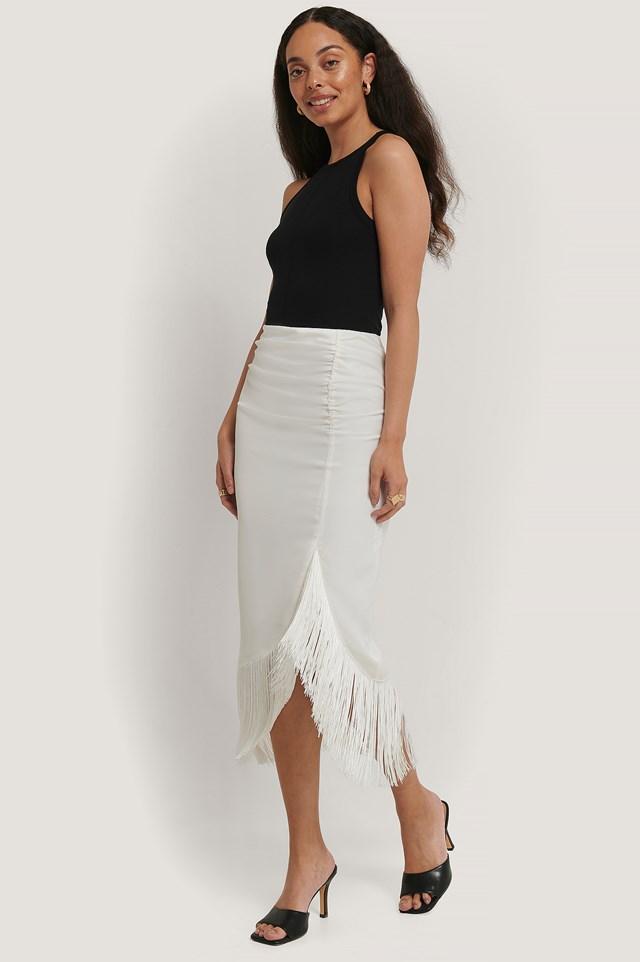 Frilled Satin Skirt Cream