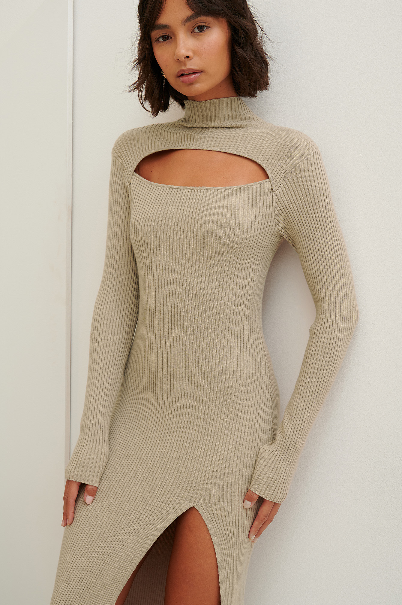 Beige Cut Out Ribbed Dress