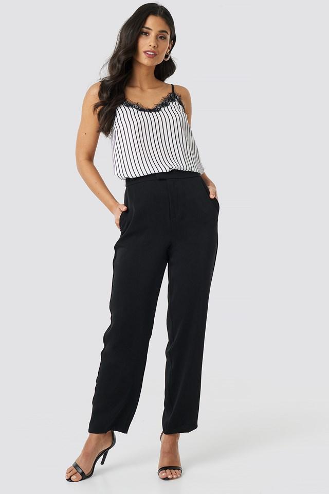 Creased Straight Suit Pants Black