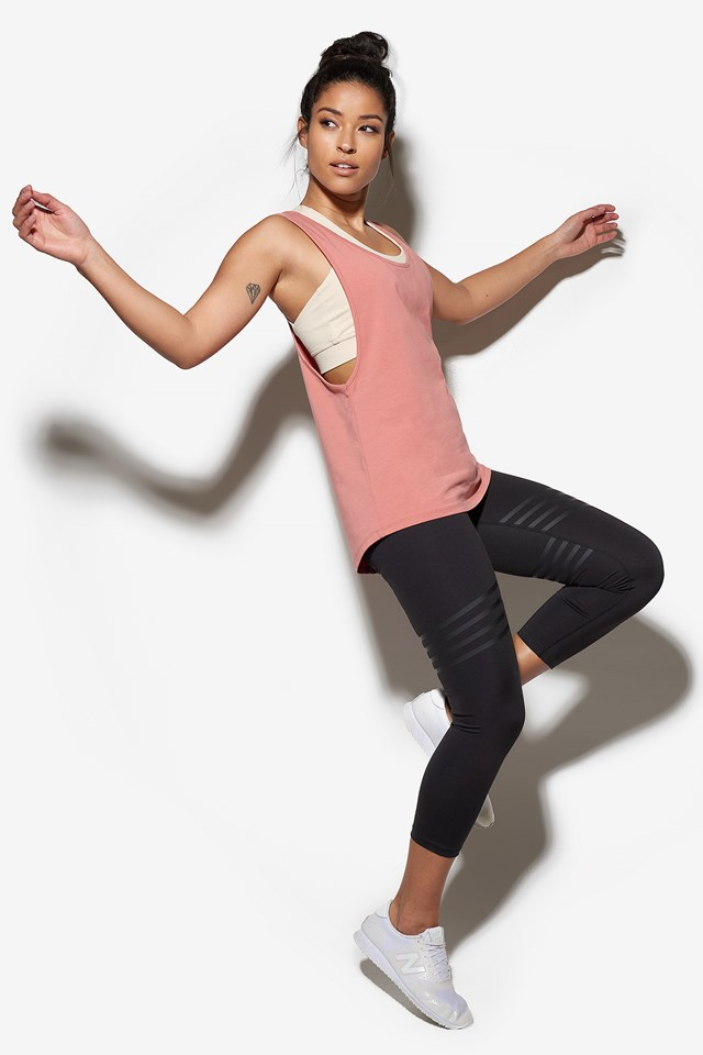 A-Line Toned Tank Top Dusty Rose