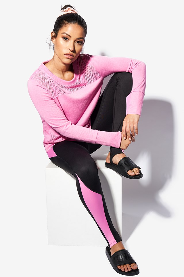 Mixed Mesh Sweater Pink