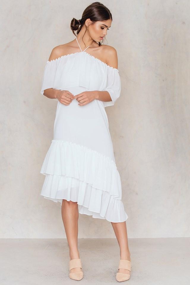 Asymmetric Frill Dress White