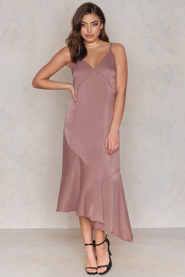 Deep V Asymmetric Cut Dress Dusty Dark Pink