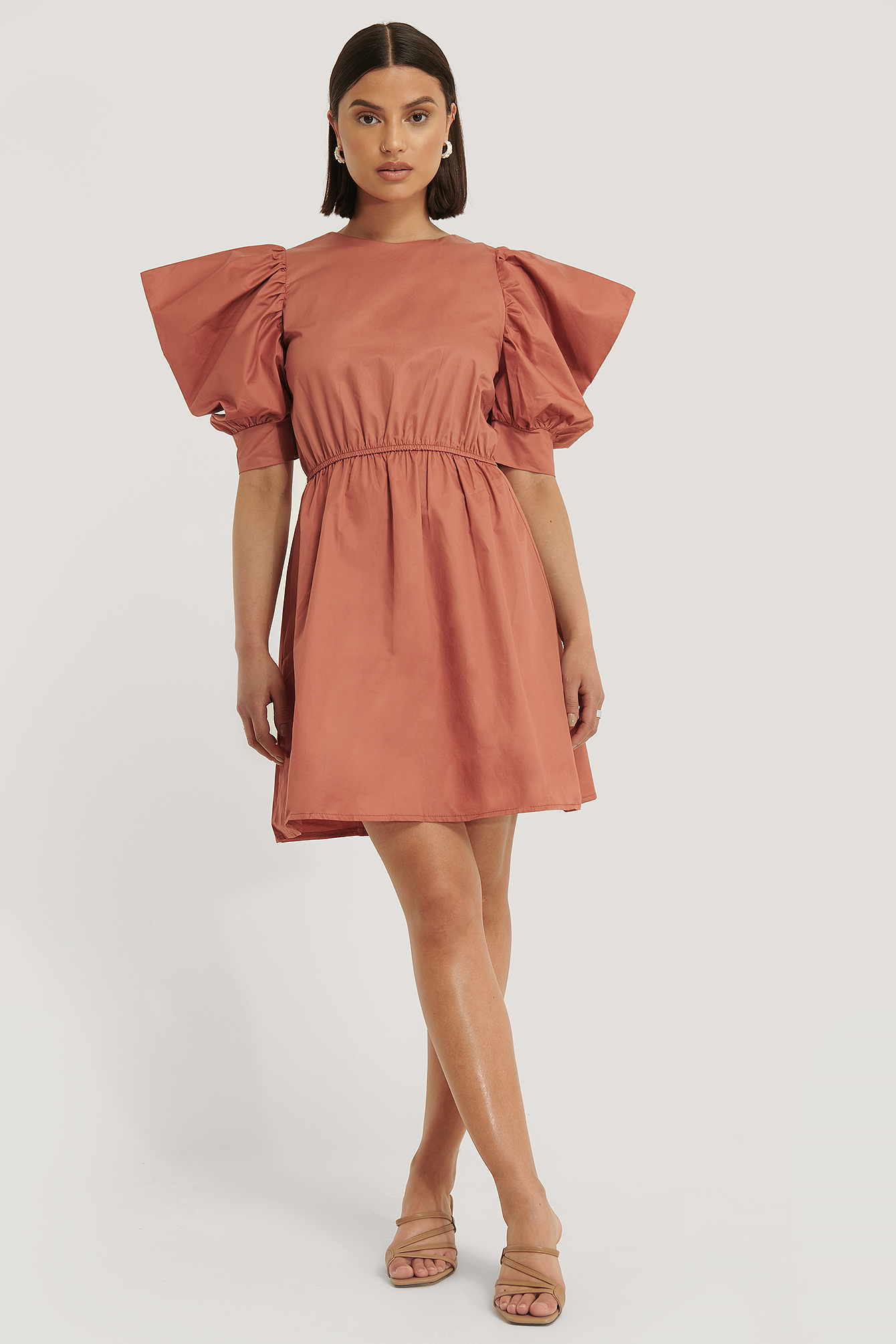 Brick Tile Sleeve Detail Mini Dress