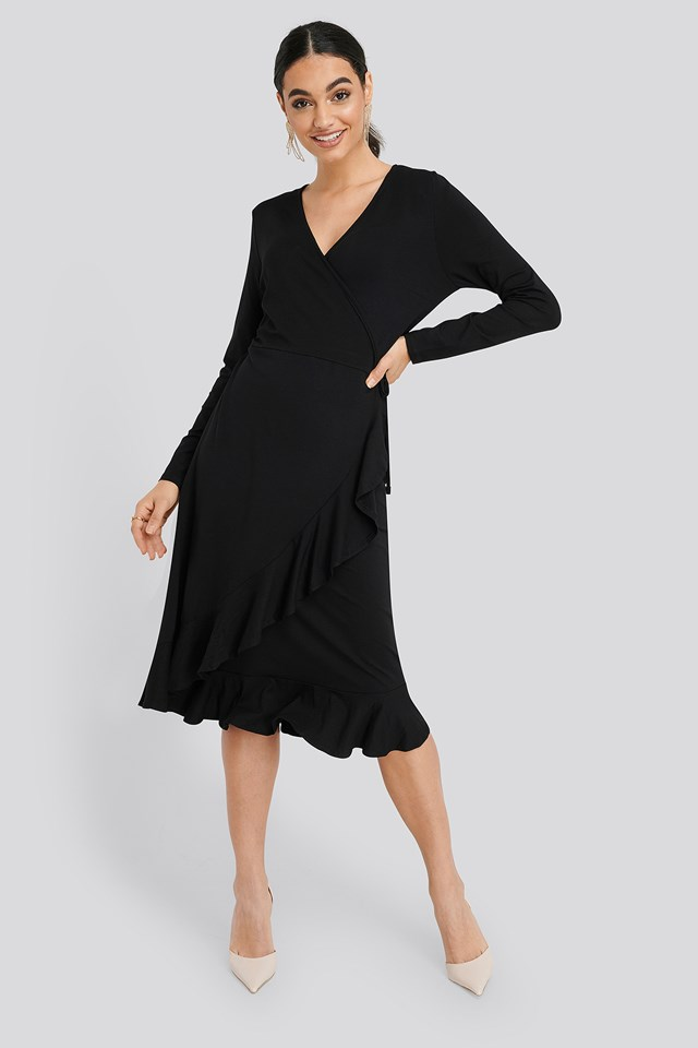 Black Wrap Knitted Dress