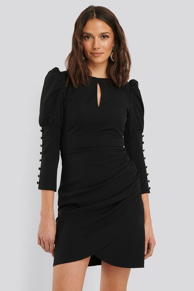 3/4 Button Sleeve Mini Dress Black