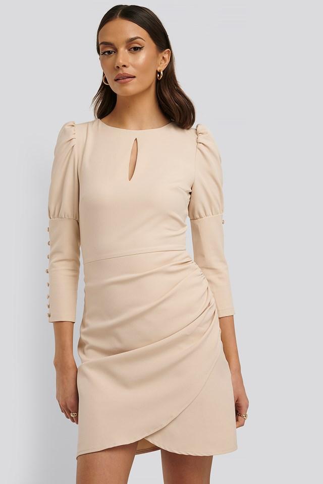 3/4 Button Sleeve Mini Dress Stone