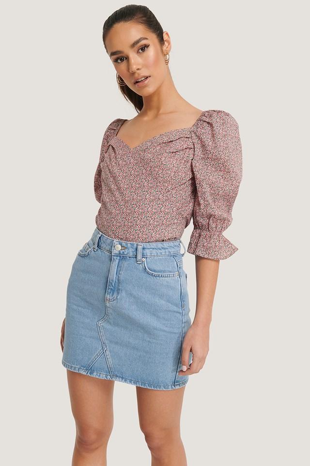 Blue Basic Denim Skirt