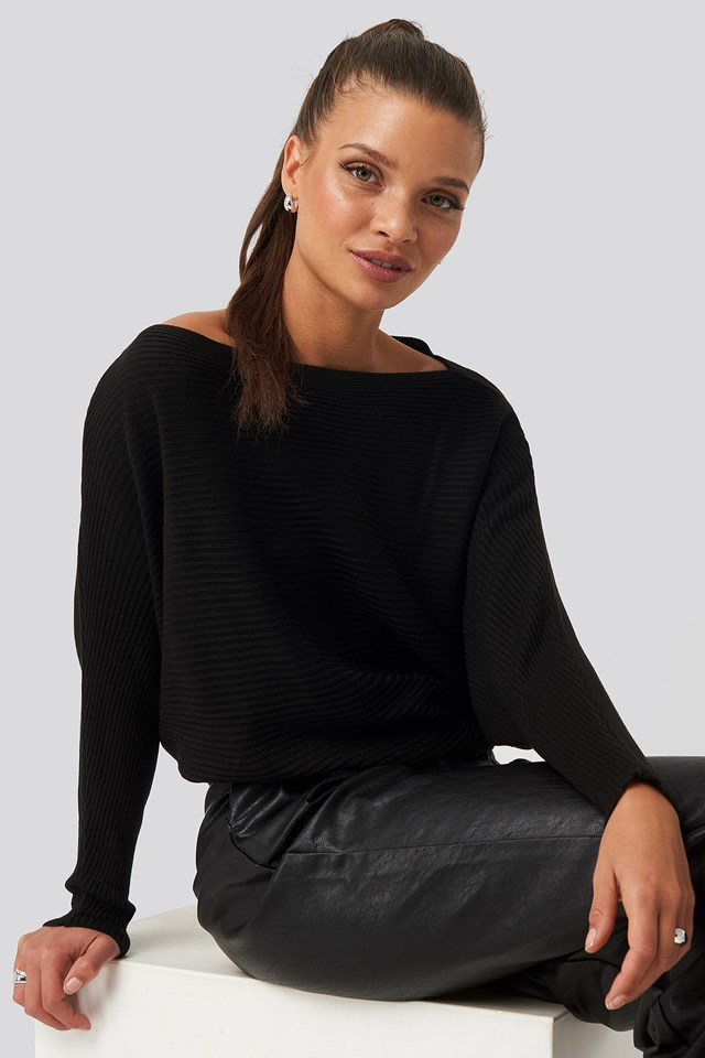 Black Bat Sleeve Sweater