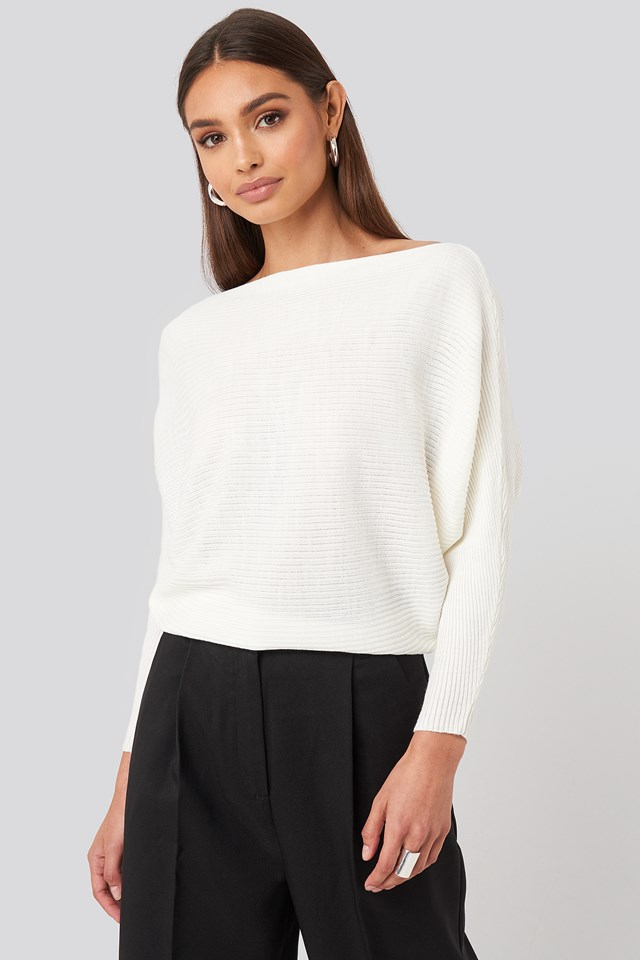 Ecru Bat Sleeve Sweater