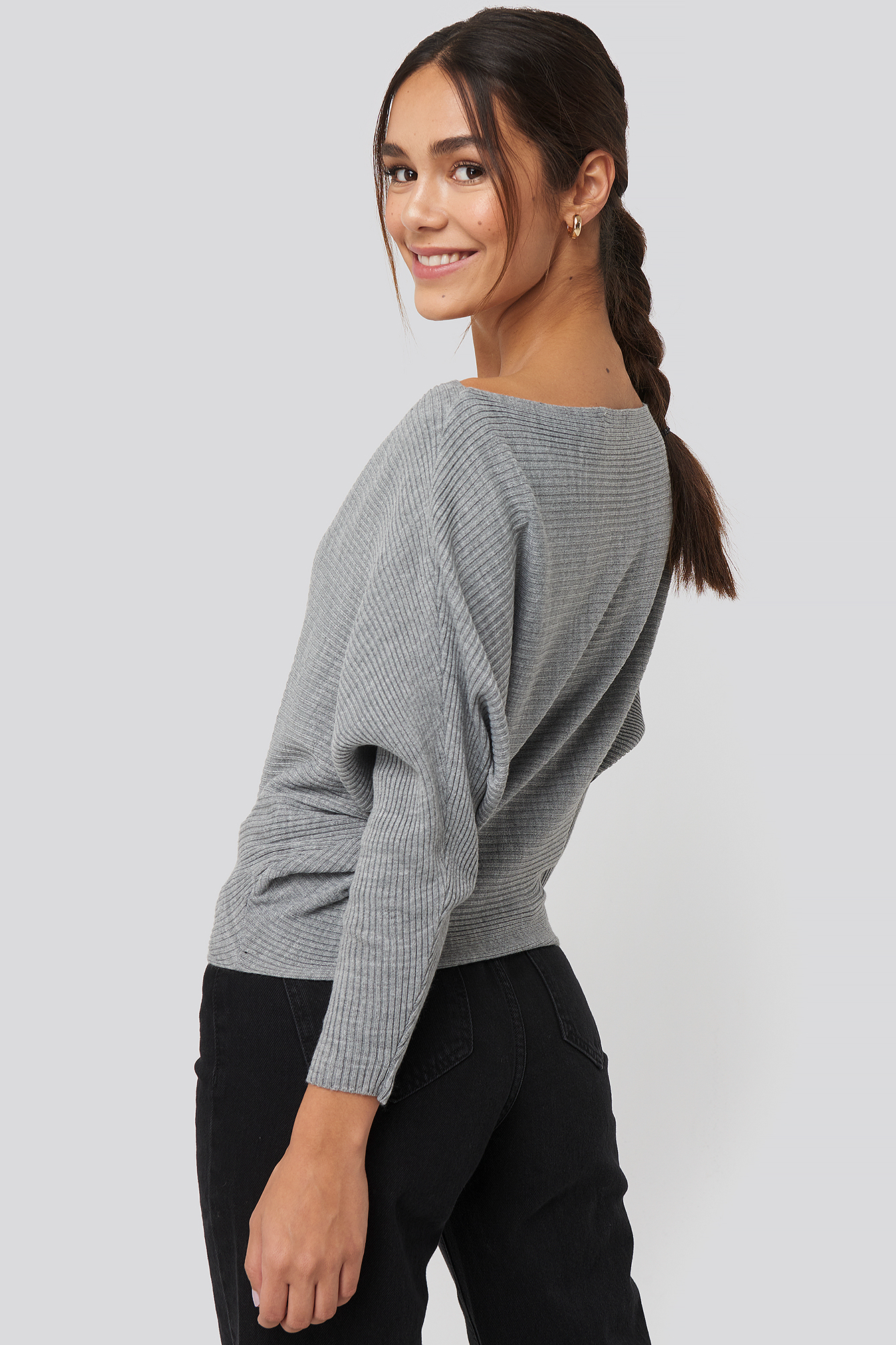 Gray Bat Sleeve Sweater