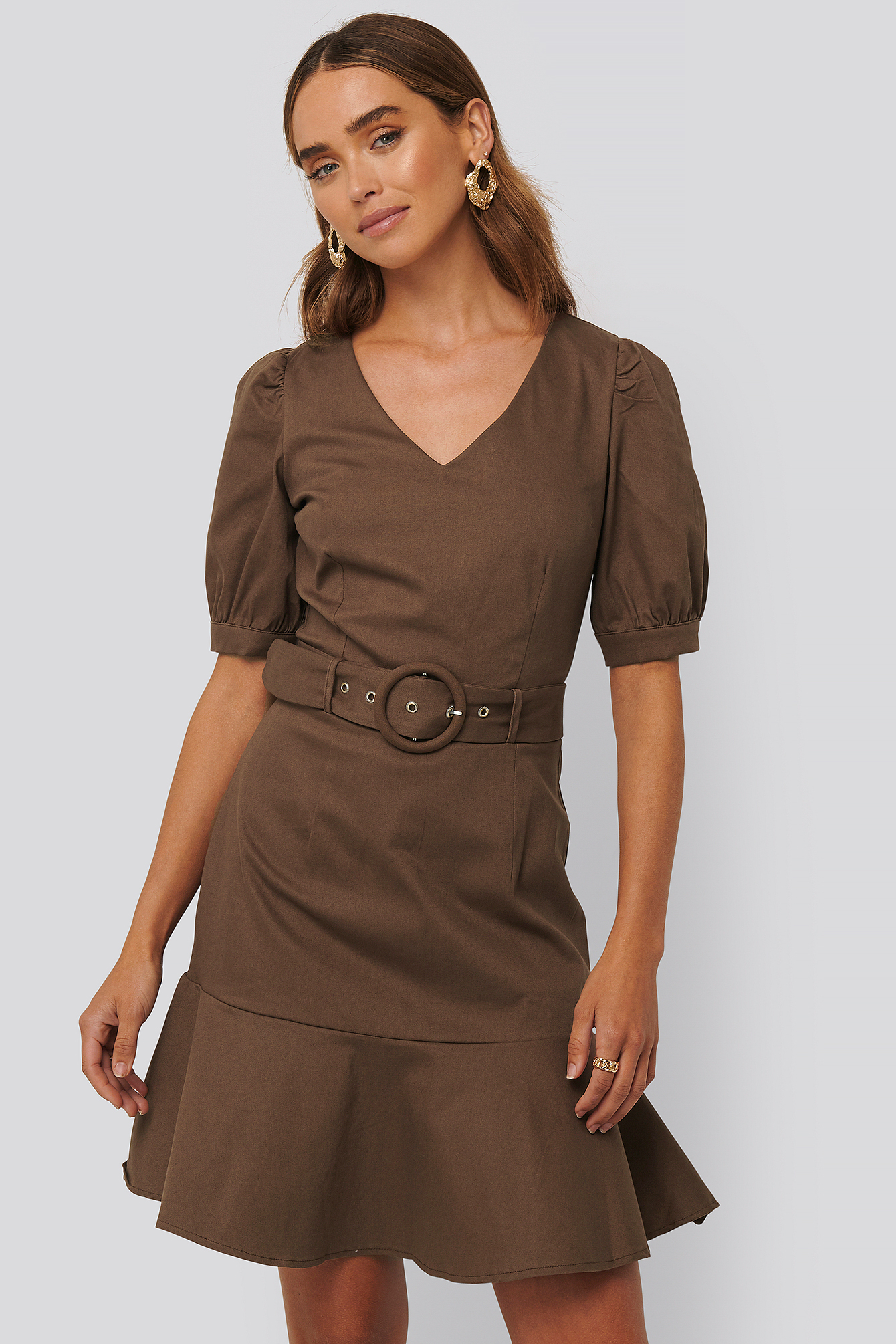 Brown Belt Detailed Mini Dress